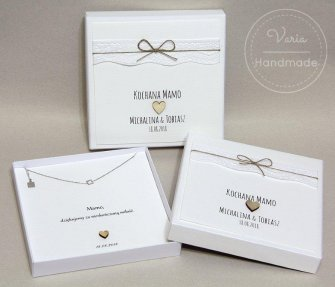 Pudełko na  biżuterię dla Rodziców  wzór rustykalna koronka - 0