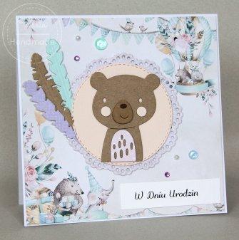 Kartka na urodziny dla dziecka Miś - 0