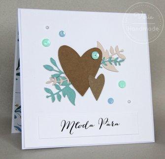 Kartka na ślub z życzeniami Rustykalne Serca - 0