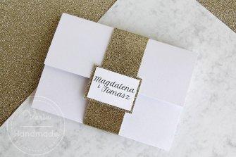 Zaproszenie na ślub - koperta z brokatem wzór 93 - 0