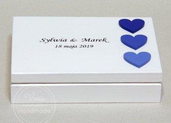 Pudełko na obrączki 3 Niebieskie Serca - 0