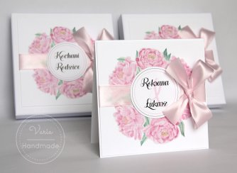 Zaproszenie dla Rodziców z Piwonią w pudełku papierowym (Wzór 1) - 0