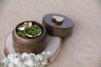 Małe pudełko na obrączki - Okrągłe Rustykalne Jasny Mech (Wzór 3) - 0