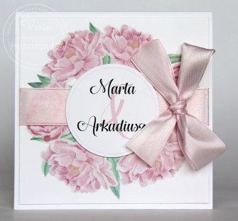 Zaproszenie na ślub Różowe Piwonie (Wzór 99) - 0