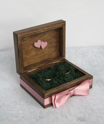Pudełko na obrączki - Rustykalne Brudny Róż (Wzór 2) - 0