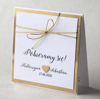 Zaproszenie na ślub - Lustrzane Złoto (Wzór 108) - 0