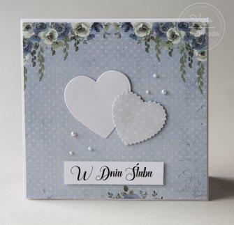Kartka ślubna  - Niebieskie Kwiaty - 0
