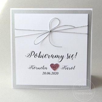 Zaproszenia na ślub - Srebro i Pudrowy Róż (Wzór 109) - 0