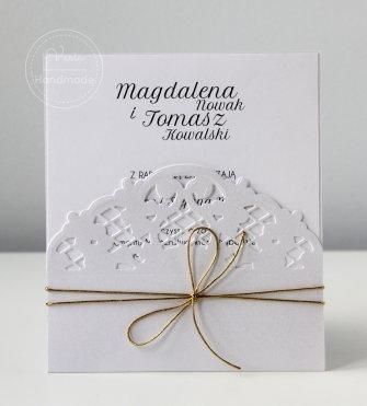 Zaproszenia na ślub - Ażurowa Biel (Wzór 110) - 0