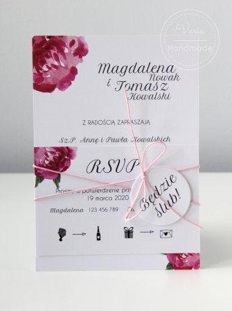 Zaproszenie na ślub - Jednokartkowe Piwonia (Wzór 111) - 0