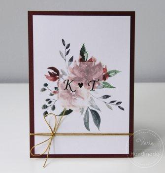 Zaproszenie na ślub - Jednokartkowe Kwiaty Bordo (Wzór 112) - 0