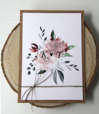 Zaproszenie na ślub - Kwiaty Bordo (Wzór 115) - 0