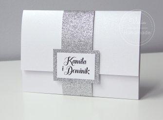 Zaproszenie koperta Glamour srebro wzór 116 - 0
