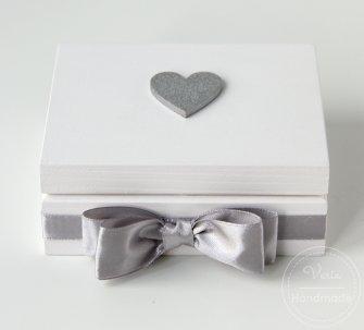 Pudełko na obrączki  - Srebrny Brokat (Wzór 10) - 0