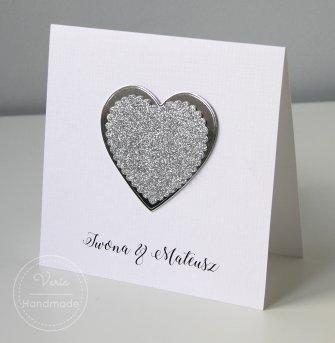 Zaproszenie ślubne - Serce Glamour (Wzór 119) - 0