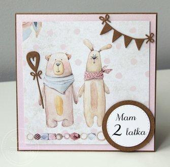 Kartka dziecięca miś i królik - 0