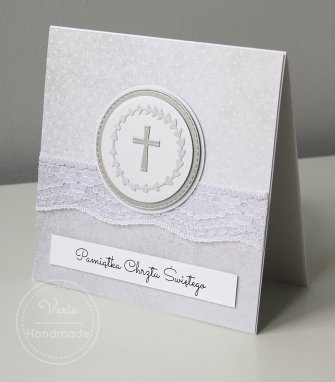 Karta na Chrzest Święty - Delikatna Koronka - 0