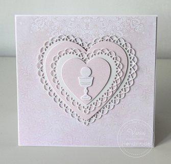 Kartka z okazji Pierwszej Komunii Świętej - Różowa Serce (Wzór 21) - 0