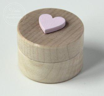 Pudełko małe okrągłe różowe serce - 0