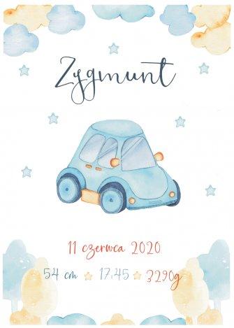 Metryczka dla dziecka Samochód A4 - 0