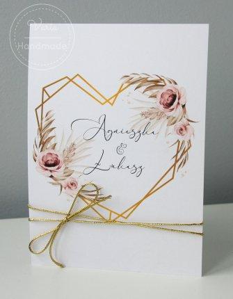 Zaproszenie na Ślub wzór nr 141 - serce z trawą i kwiatami - 0