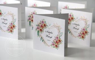 Zaproszenie na ślub kwiaty w sercu wzór 148 - 0